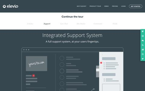 Screenshot of Support Page elev.io - Imagine a full support system on every page, at your users fingertips | elevio - captured Nov. 18, 2015