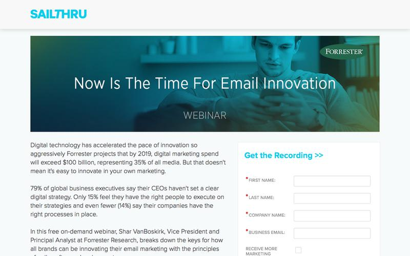 Sailthru + Forrester Present: Now is the time for Email Innovation