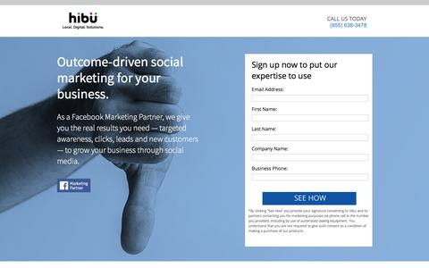 Screenshot of Landing Page hibu.com - Get Social Marketing a new website for $99 - captured March 3, 2018