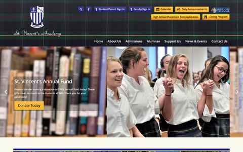 Screenshot of Home Page svaga.net - About Us - St. Vincent's Academy - captured Dec. 1, 2018