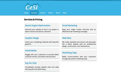 Screenshot of Services Page 4cesi.com - Services & Pricing | Cascade e-Commerce Solutions, Inc. - captured Oct. 2, 2014