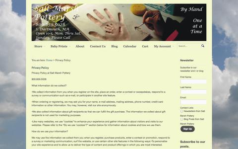 Screenshot of Privacy Page saltmarsh.com - Privacy Policy - Salt Marsh Pottery - captured Oct. 3, 2014