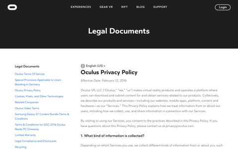 Screenshot of Privacy Page oculus.com - Oculus Privacy Policy - captured July 8, 2016