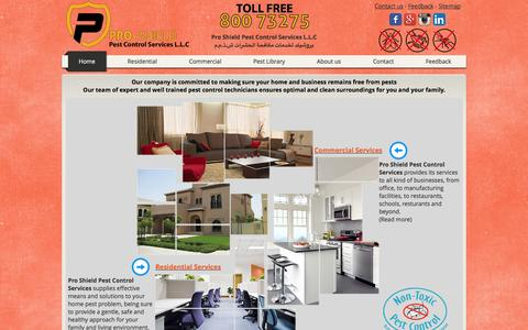 Screenshot of Home Page proshield.ae - Pro Shield | Pest Control in Dubai | Toll Free 80073275 - captured Oct. 3, 2014