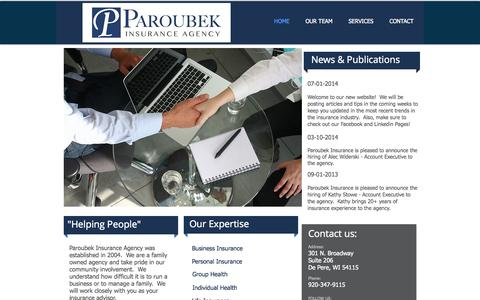 Screenshot of Home Page paroubekinsurance.com - Paroubek Insurance Agency - captured Oct. 1, 2014