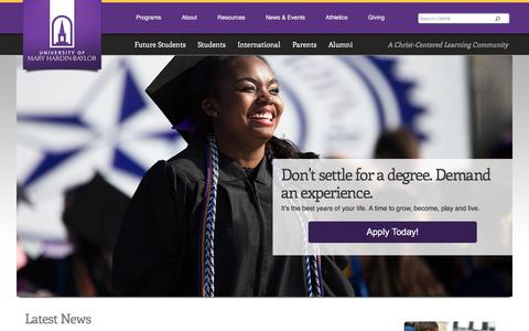Screenshot of Home Page umhb.edu - Christian University, Christian College Scholarship, Nursing Degree - captured Jan. 15, 2016