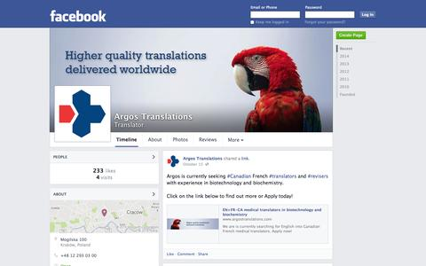 Screenshot of Facebook Page facebook.com - Argos Translations - Cracow, Poland - Translator | Facebook - captured Oct. 23, 2014