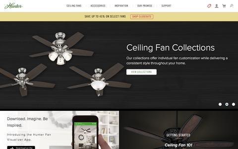Screenshot of Home Page hunterfan.com - Quality Ceiling Fans | Buy Online | Hunter Fan - captured Sept. 27, 2016