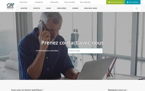 Screenshot of Contact Page ca-immobilier.fr - Besoin de contacter le Crédit Agricole Immobilier ? - captured July 15, 2018