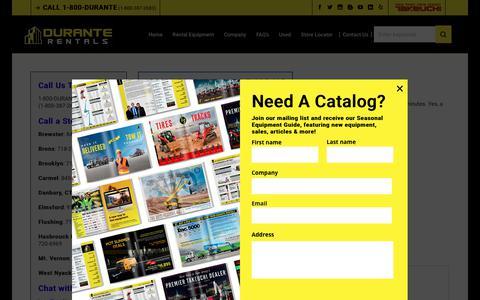 Screenshot of Contact Page duranterentals.com - Contact Durante Rentals   Call 1-800-DURANTE   Email, Live Chat, Fax - captured Dec. 14, 2018