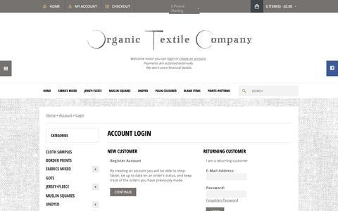 Screenshot of Login Page organiccotton.biz - Account Login - captured Oct. 18, 2018