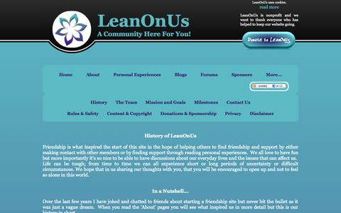 Screenshot of About Page leanonus.co - About Us - History of LeanOnUs #LOU - captured Oct. 31, 2014