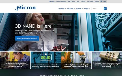Screenshot of Home Page micron.com - Micron Technology, Inc. - Home | Memory and Storage Solutions - captured Feb. 22, 2016