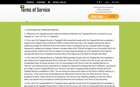 Screenshot of Terms Page typepad.com - Terms of Service   Typepad - captured Oct. 29, 2014