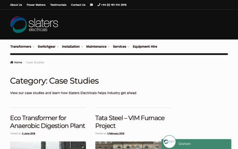 Screenshot of Case Studies Page slaters-electricals.com - Case Studies Archives | Slaters Electricals - captured Oct. 1, 2018