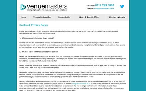 Screenshot of Privacy Page venuemasters.co.uk - Cookie & Privacy Policy - VENUEMASTERS - captured Oct. 9, 2014