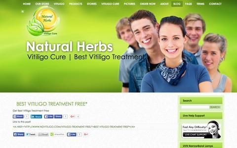 Screenshot of Blog novitiligo.com - Best Vitiligo Treatment Free* - captured Feb. 28, 2016