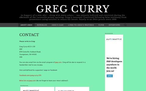 Screenshot of Contact Page wordpress.com - Contact | Greg Curry - captured Feb. 1, 2018