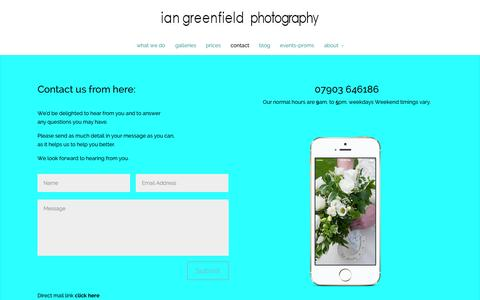 Screenshot of Contact Page iangreenfield.com - contact us via email or telephone right here - captured Oct. 6, 2014