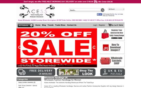 Screenshot of Home Page acess.co.uk - Wholesale Handbags | Wholesale Handbags UK | Acess UK - captured Sept. 22, 2014