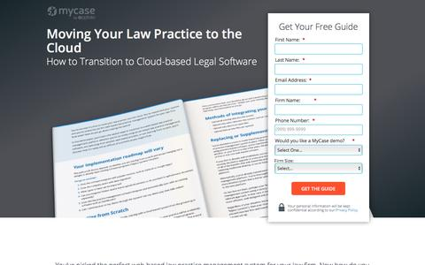 Screenshot of Landing Page mycase.com - Moving Your Law Practice to the Cloud :: MyCase Legal Resources - captured May 17, 2017