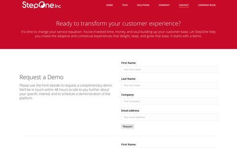 Screenshot of Contact Page steponeinc.com - StepOne, Inc. - Contact - captured Dec. 4, 2015