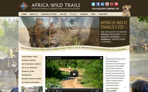 Screenshot of Home Page africawildtrails.com - Africa Wild Trails Ltd - captured Oct. 4, 2014