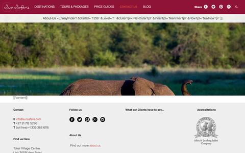 Screenshot of About Page sunsafaris.com - [[*pagetitle]] | [[++site_name]] - captured Aug. 30, 2016