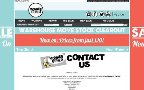 Screenshot of Contact Page monkeegenes.com - Contact Us ― Monkee Genes - captured Feb. 23, 2016