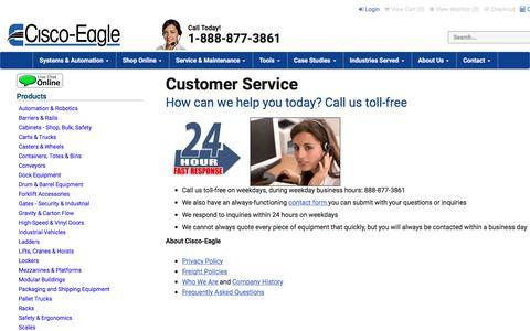 Screenshot of Support Page cisco-eagle.com - Cisco-Eagle Customer Care - captured July 27, 2017