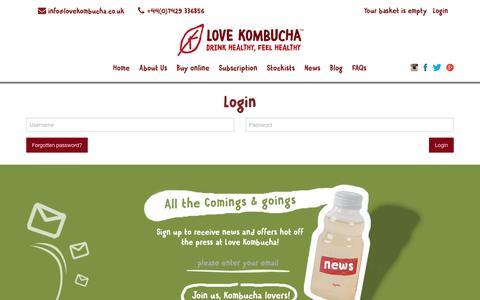Screenshot of Login Page lovekombucha.co.uk - - Love Kombucha - captured Sept. 11, 2017