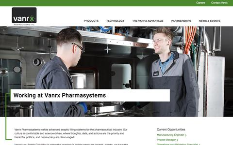 Screenshot of Jobs Page vanrx.com - Pharmaceutical manufacturing, engineering careers / jobs | Vanrx - captured Dec. 3, 2016