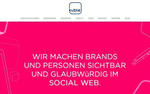 Screenshot of Home Page kuble.com - Kuble AG - Social Media Agentur - captured Feb. 12, 2016
