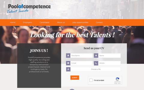 Screenshot of Home Page poolofcompetence.com - Pool of Competence. high-quality recruiting and staffing solutions. - captured Aug. 13, 2017