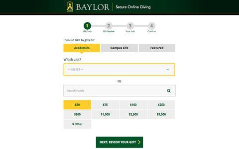 Select Your Gift | Give to Baylor | Baylor University