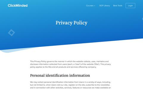 Screenshot of Privacy Page clickminded.com - Privacy Policy - ClickMinded - captured March 2, 2018