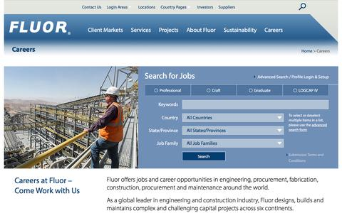 Screenshot of Jobs Page fluor.com - Fluor Careers: Job Opportunities in Engineering, Procurement, Construction (EPC), Maintenance and Project Management Services. - captured July 15, 2017