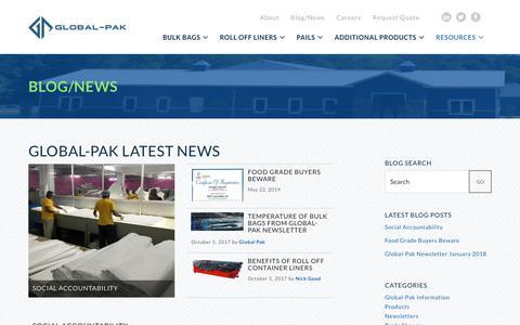Screenshot of Blog global-pak.com - Blog/News   Global-Pak - captured July 20, 2019