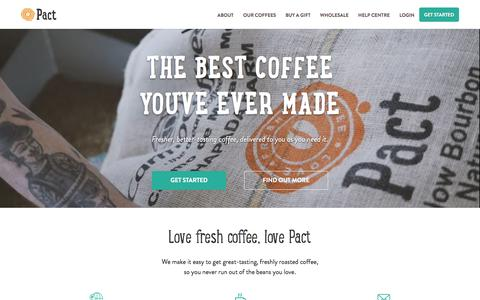 Screenshot of Home Page pactcoffee.com - Pact | Home - captured July 8, 2016