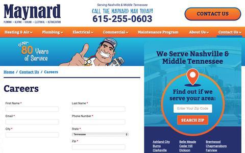 Screenshot of Jobs Page themaynardman.com - HVAC, Plumbing & Electrical Careers in Nashville, TN | Maynard - captured Dec. 20, 2018