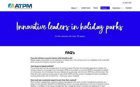 Screenshot of FAQ Page atpm.com.au - FAQ's   Australian Tourist Park Management - captured Oct. 4, 2018