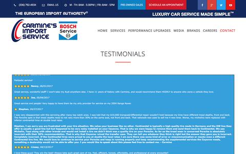 Screenshot of Testimonials Page carminesimport.com - TESTIMONIALS – KERNERSVILLE Auto Repair 27284 | Carmine's Import Service (336)792-4934 | Diesel Repair in KERNERSVILLE, NC - captured July 15, 2017
