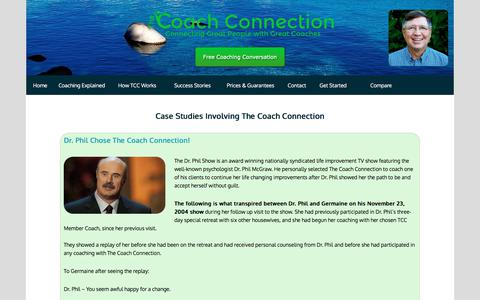 Screenshot of Case Studies Page findyourcoach.com - Life Coaching Case Studies For Coach Connection Clients - captured Oct. 22, 2017