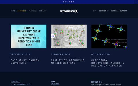 Screenshot of Case Studies Page synglyphx.com - Case Studies — SynGlyphX - captured Nov. 19, 2018