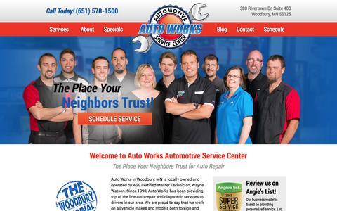 Screenshot of FAQ Page autoworksmn.com - Auto Works   Woodbury, MN   Auto Repair - captured Oct. 4, 2014