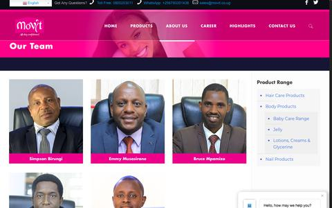 Screenshot of Team Page movit.co.ug - Our Team – Movit Products Ltd - captured June 30, 2018