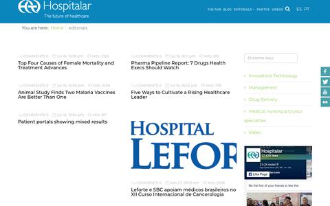 Screenshot of Blog hospitalar.com - Hospitalar - editorials - captured Sept. 29, 2018