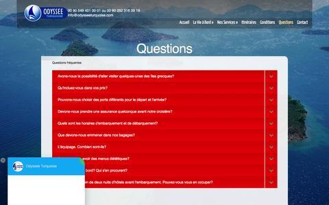 Screenshot of FAQ Page odysseeturquoise.com - Questions | Croisiere bleue grece | Location de Goelettes |  Croatie Croisiere - captured March 23, 2017