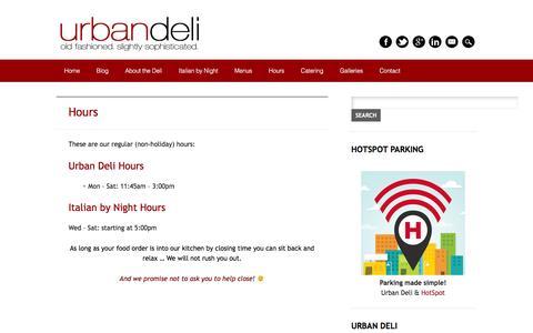 Screenshot of Hours Page urbandeli.ca - Hours | Urban Deli - captured Dec. 1, 2015