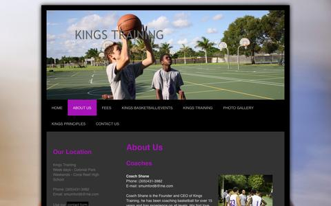 Screenshot of About Page training-kings.com - Kings Training is a basketball program located in Miami Florida - captured Oct. 6, 2014